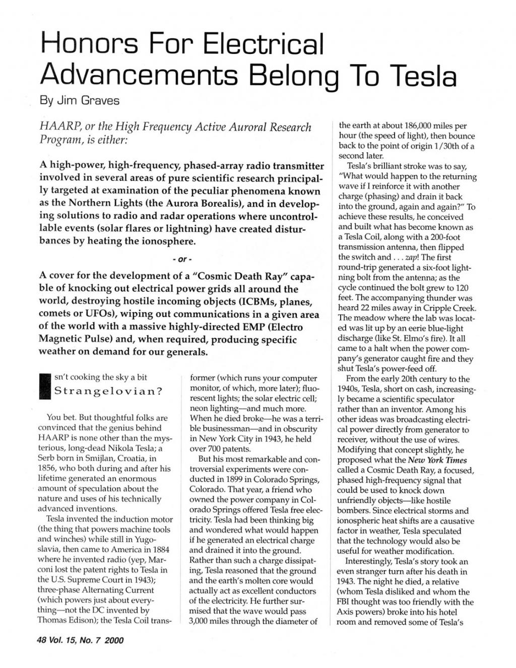 Preview of Honors for Electrical Advancements Belong to Tesla article