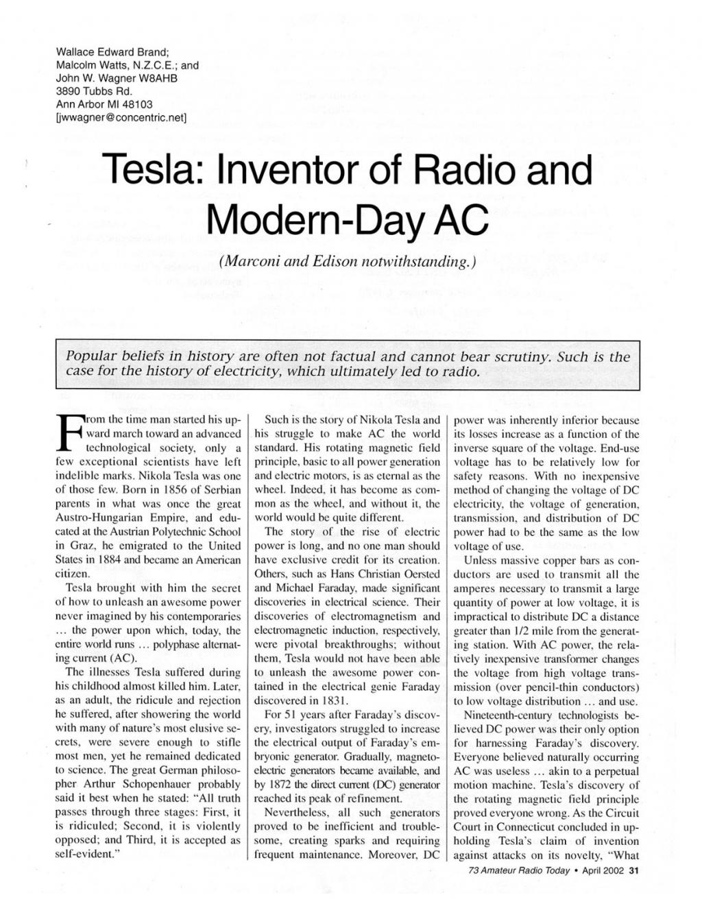 Preview of Tesla: Inventor of Radio and Modern-Day AC  article
