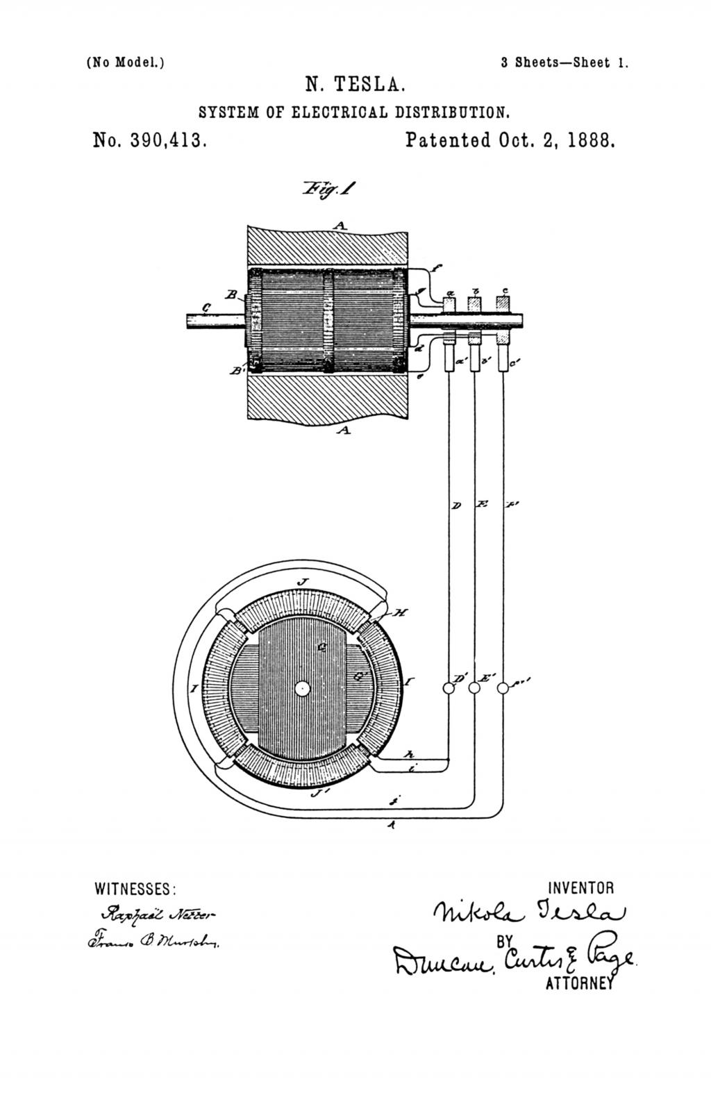 Nikola Tesla U.S. Patent 390,413 - System of Electrical Distribution - Image 1