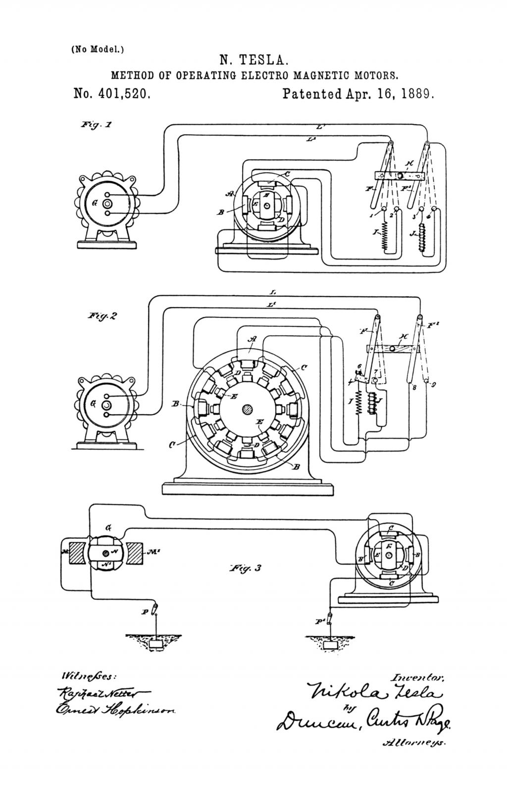 Nikola Tesla U.S. Patent 401,520 - Method of Operating Electro-Magnetic Motors - Image 1