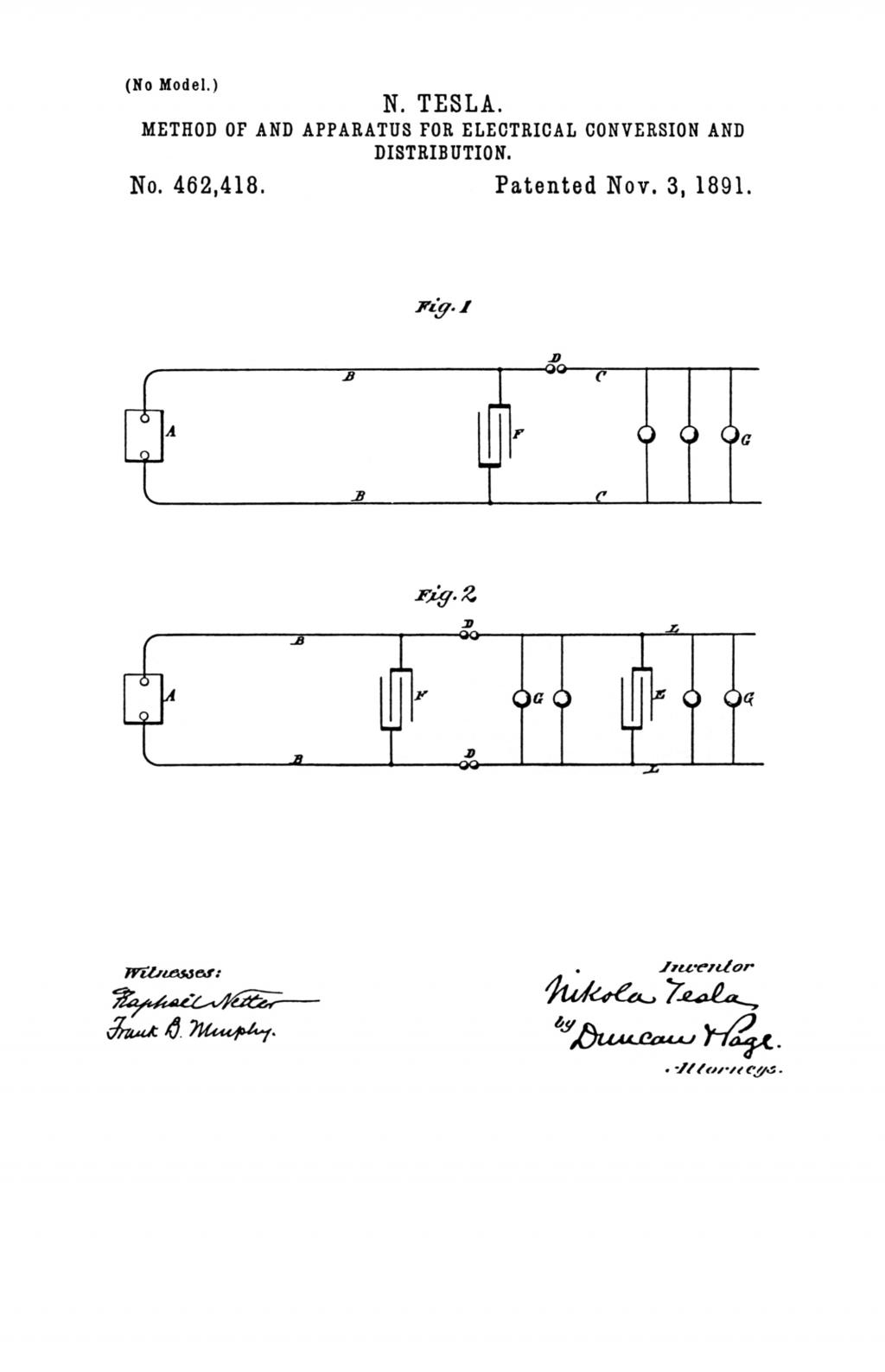 Nikola Tesla U.S. Patent 462,418 - Method of and Apparatus for Electrical Conversion and Distribution - Image 1