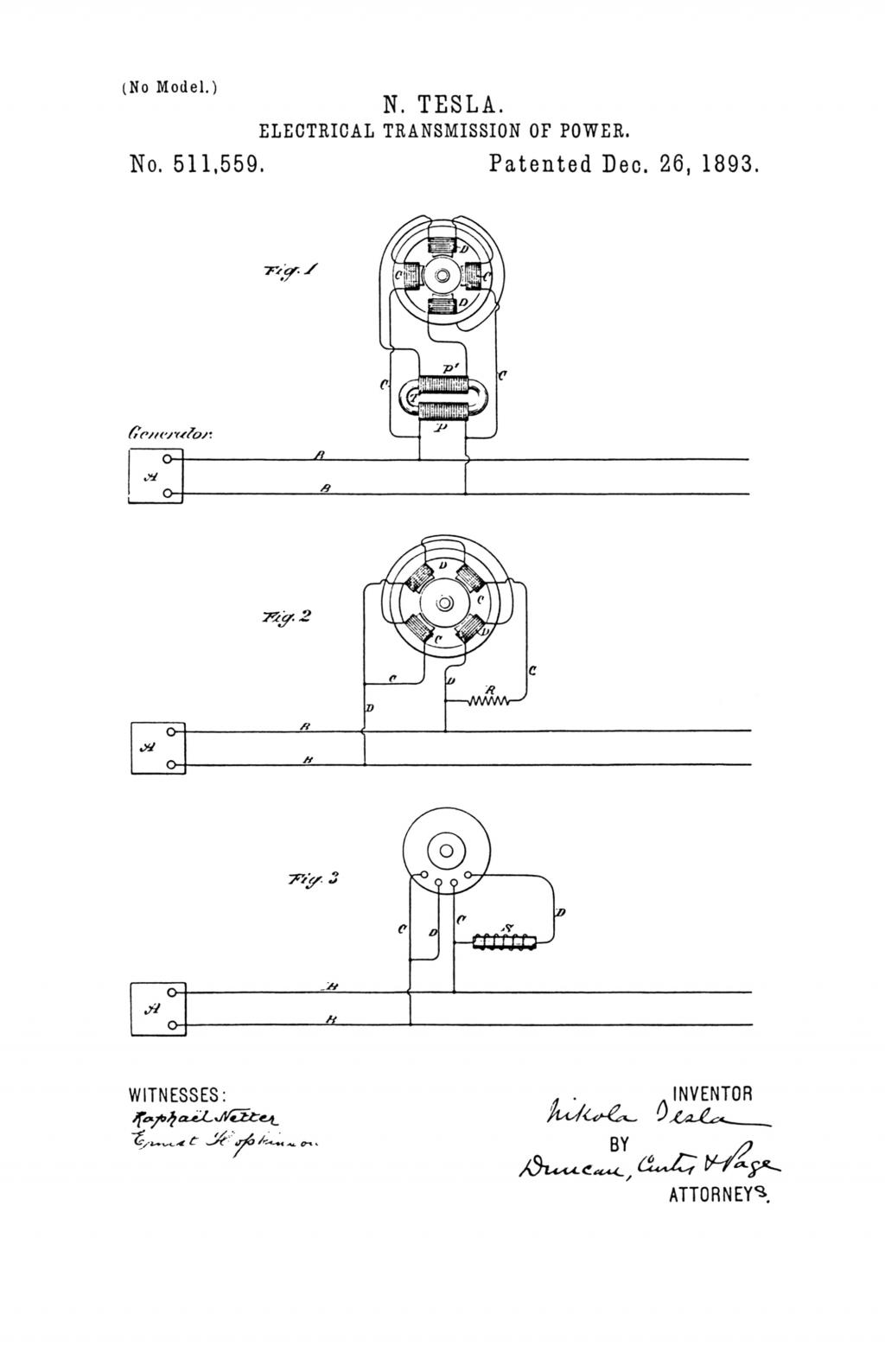 Nikola Tesla U.S. Patent 511,559 - Electrical Transmission of Power - Image 1