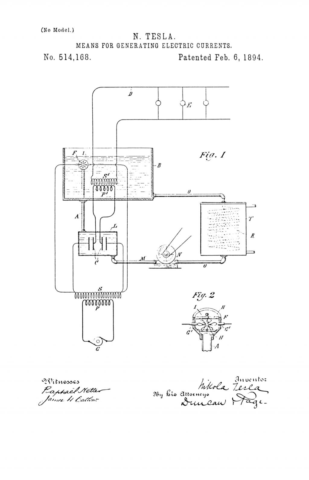 Nikola Tesla U.S. Patent 514,168 - Means for Generating Electric Currents - Image 1