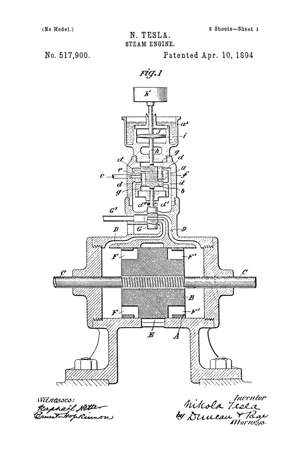 Nikola Tesla U.S. Patent 517,900 - Steam Engine - Image 1