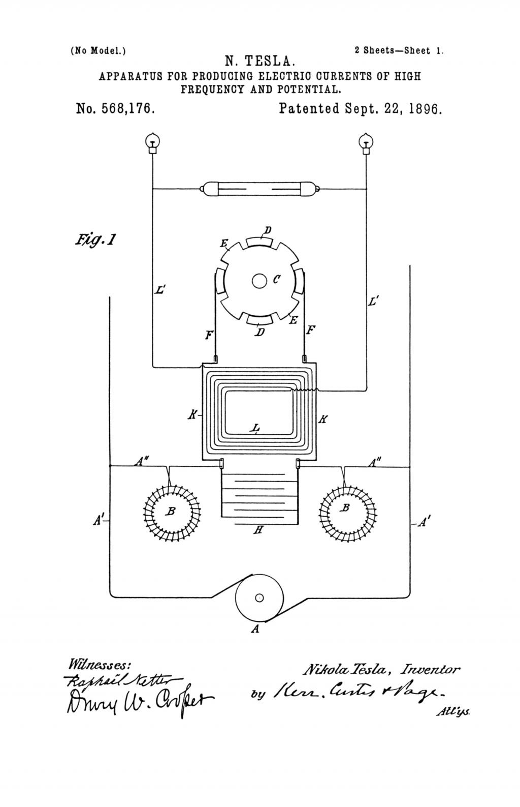 Nikola Tesla U.S. Patent 568,176 - Apparatus for Producing Electrical Currents of High Frequency and Potential - Image 1