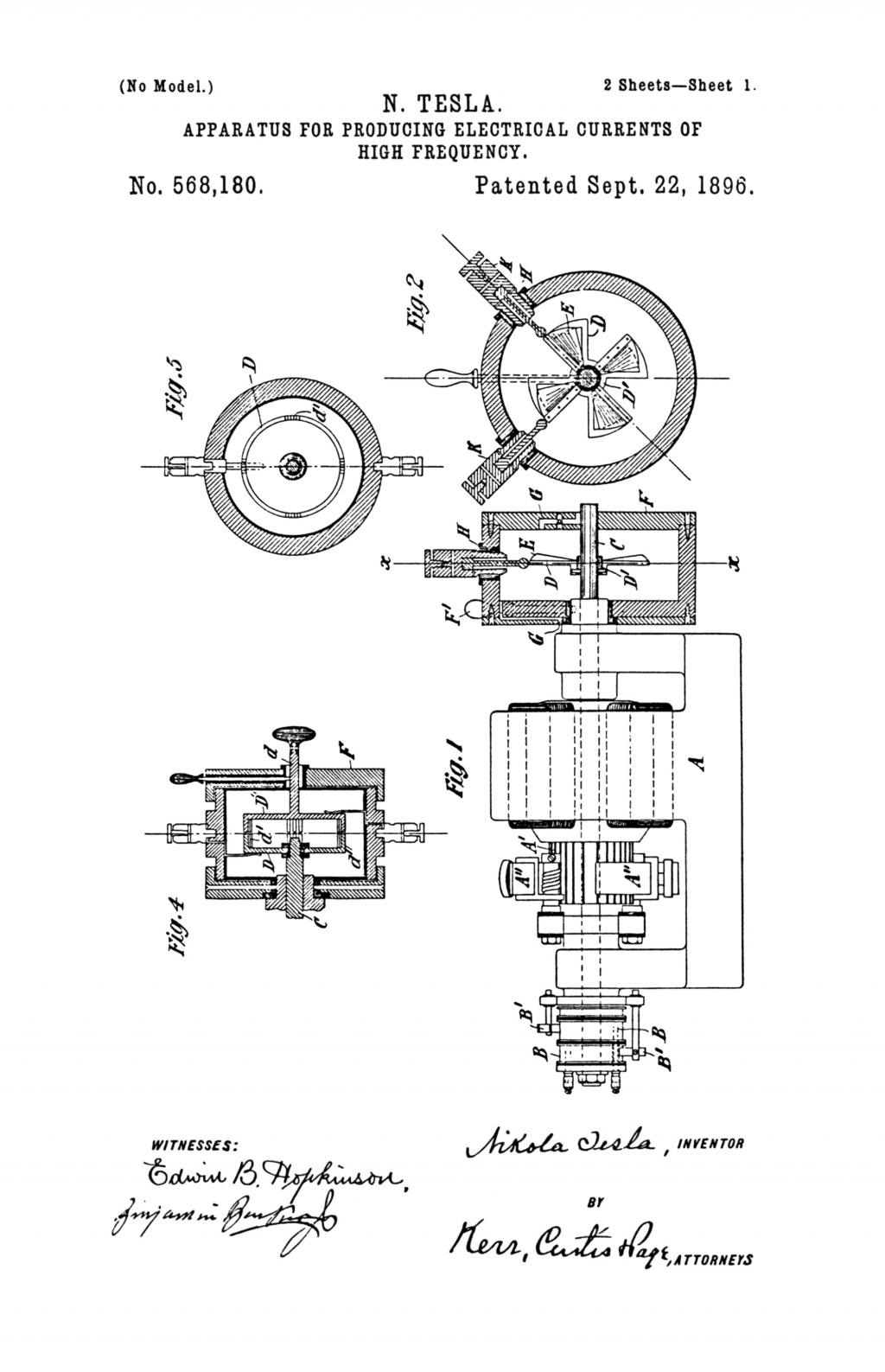 Nikola Tesla U.S. Patent 568,180 - Apparatus for Producing Electrical Currents of High Frequency - Image 1