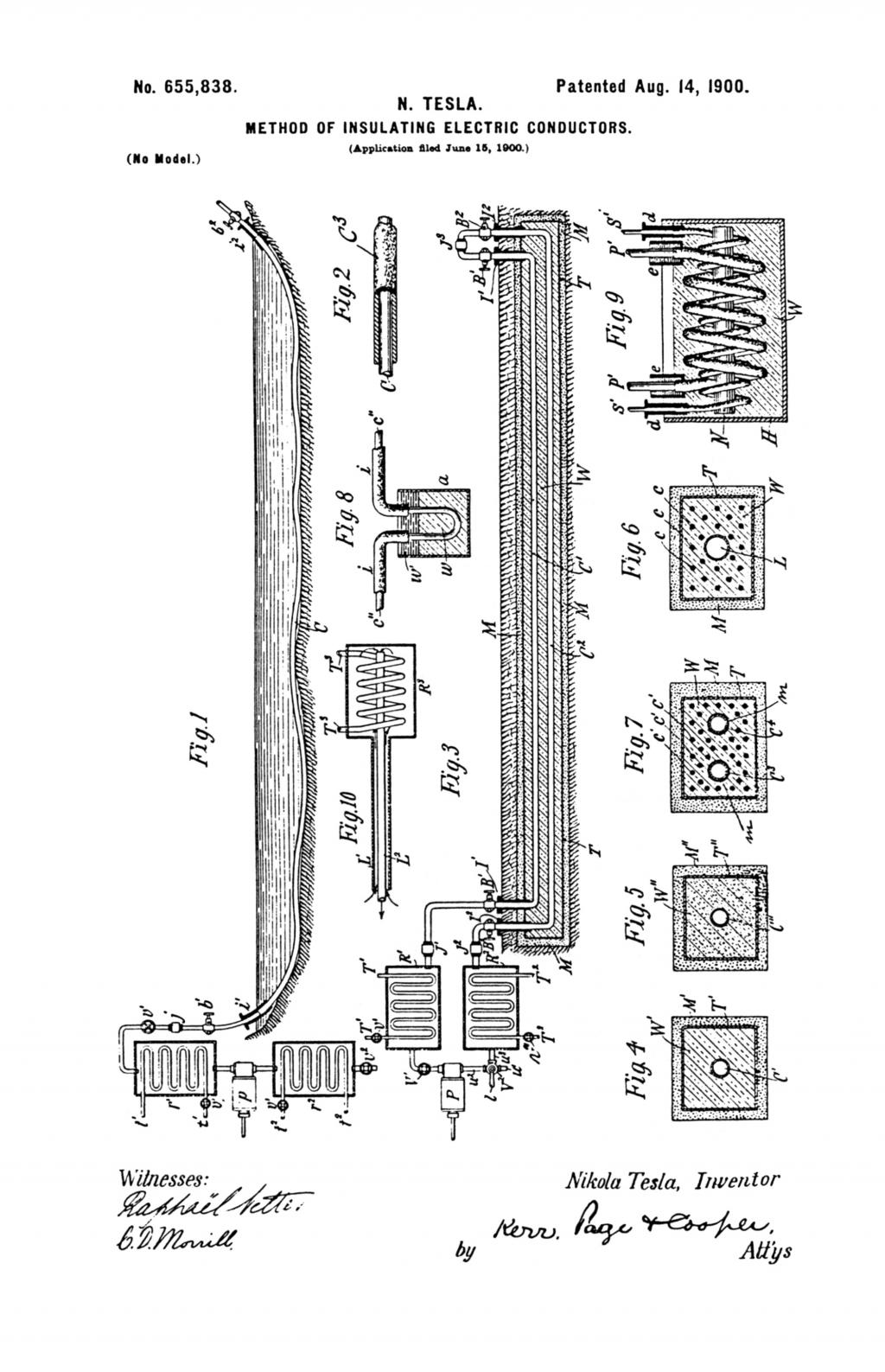 Nikola Tesla U.S. Patent 655,838 - Method of Insulating Electric Conductors - Image 1