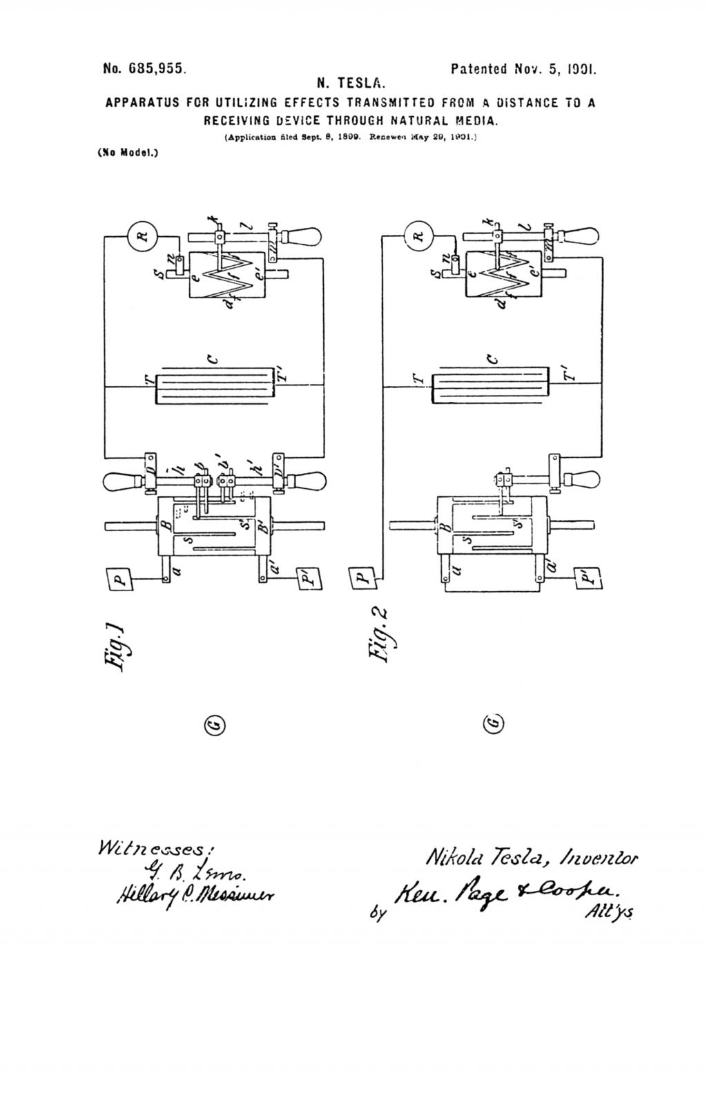 Nikola Tesla U.S. Patent 685,955 - Apparatus for Utilizing Effects Transmitted From A Distance To A Receiving Device Through Natural Media - Image 1