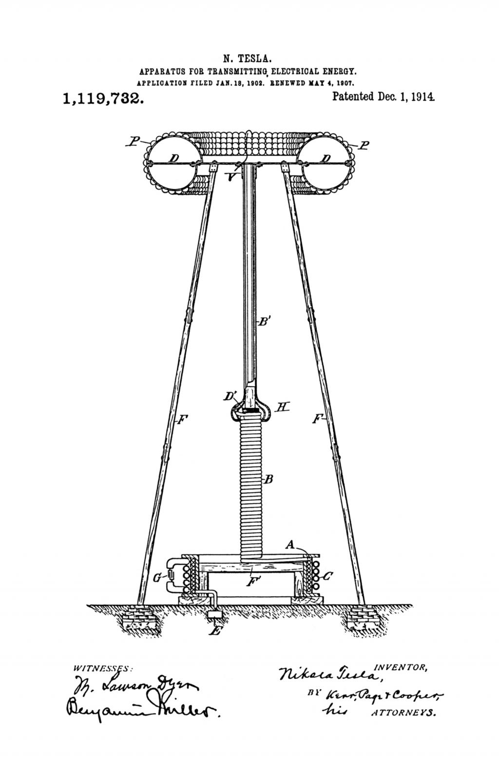 Nikola Tesla U.S. Patent 1,119,732 - Apparatus for Transmitting Electrical Energy - Image 1