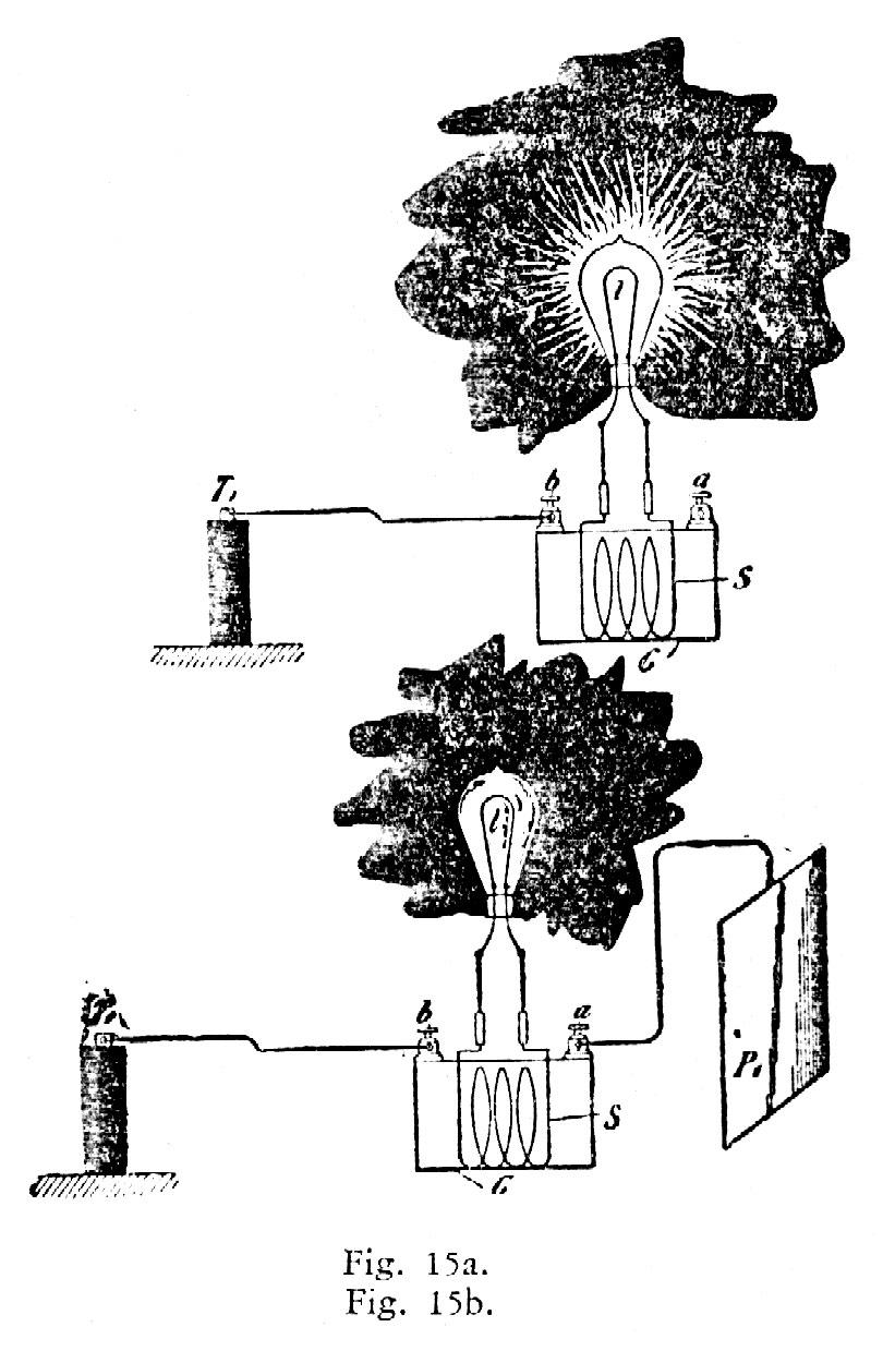Diagram related to Tesla's high-frequency lighting experiments