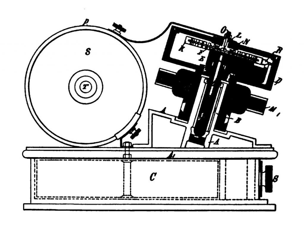 Patent drawing of Tesla high-frequency oscillator