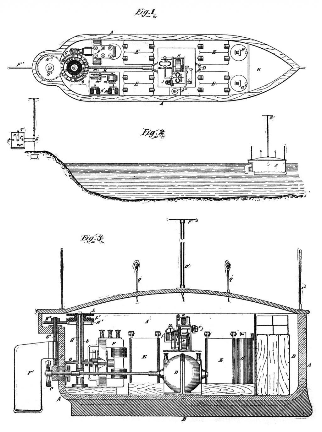 Patent drawing of Tesla's dirigible boat