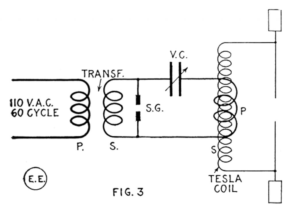 Large Tesla Coil and Exciting Transformer Wiring Diagram