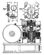 Tesla patent drawing of electrical oscillator showing details and circuit connections