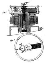 Tesla patent drawing for an electrical oscillator showing details of motor and break mechanism