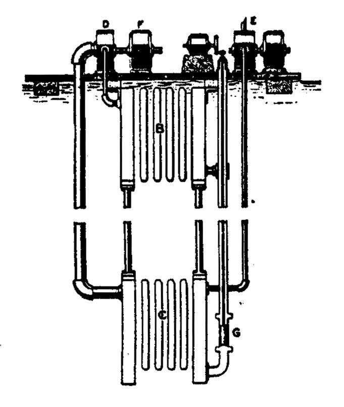 Tesla diagram for a floating thermo-electric power plant