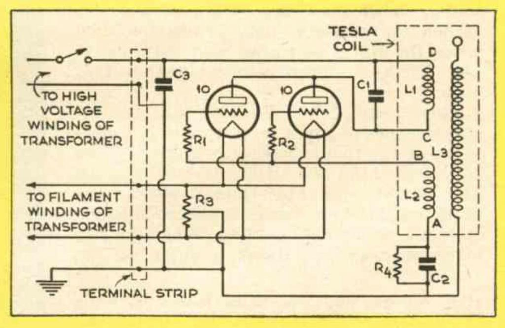 Tesla coil diagram.