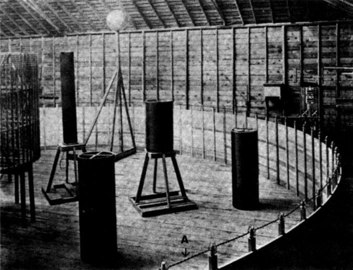 Figure 5 - Tesla's coils in Colorado Springs showing a suppression turn folded back (A).