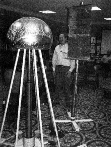 Gary Peterson with scaled model of Tesla's Wardenclyffe tower