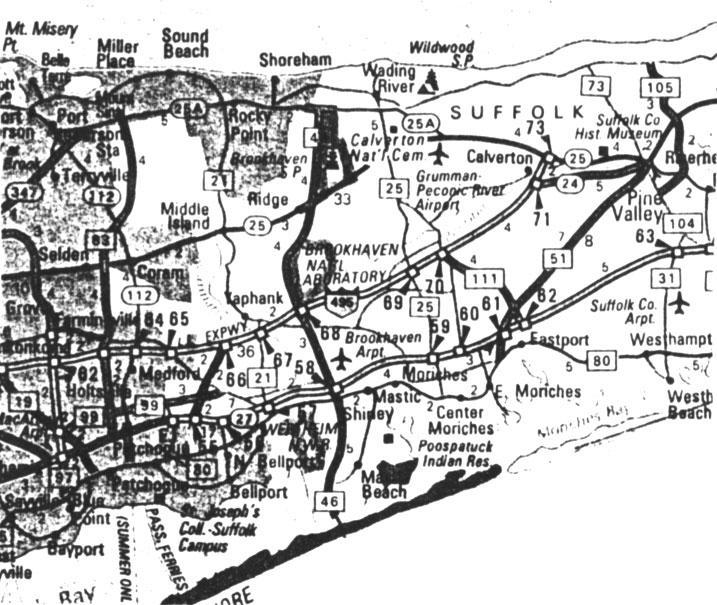 Detail map of New York showing Shoreham location