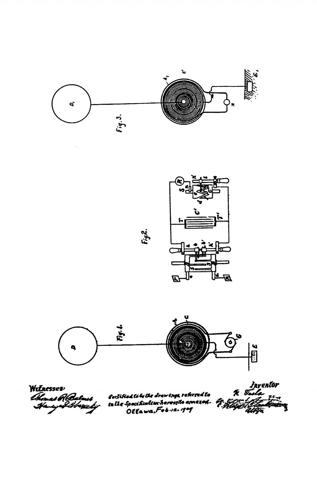 Nikola Tesla Canadian Patent 142352 - Art of Transmitting Electrical Energy through the Natural Mediums - Image 1