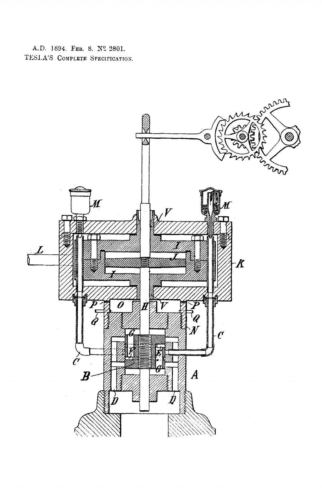Nikola Tesla British Patent 2801 - Improvements in Reciprocating Engines and Means for Regulating the Period of the Same - Image 1