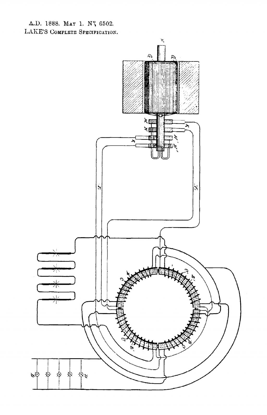 Nikola Tesla British Patent 6502 - Improvements Relating to the Generation and Distribution of Electric Currents and to Apparatus Therefor - Image 1