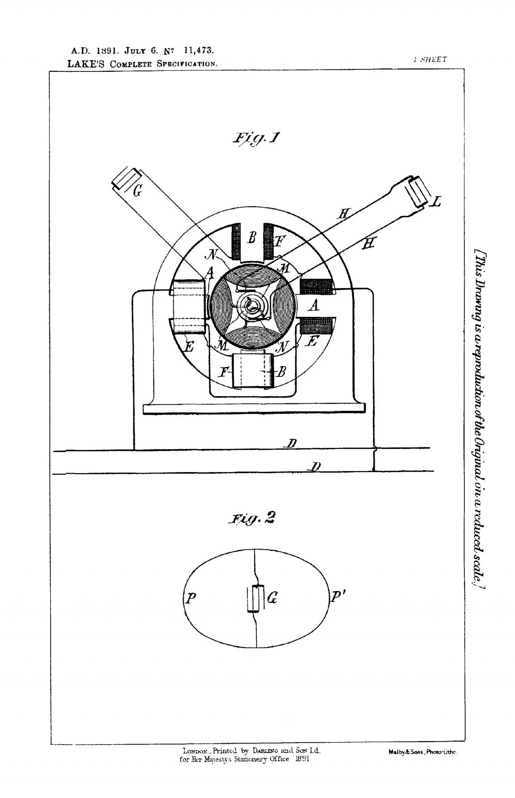Nikola Tesla British Patent 11,473 - Improvements in Alternating Current Electro-Magnetic Motors - Image 1