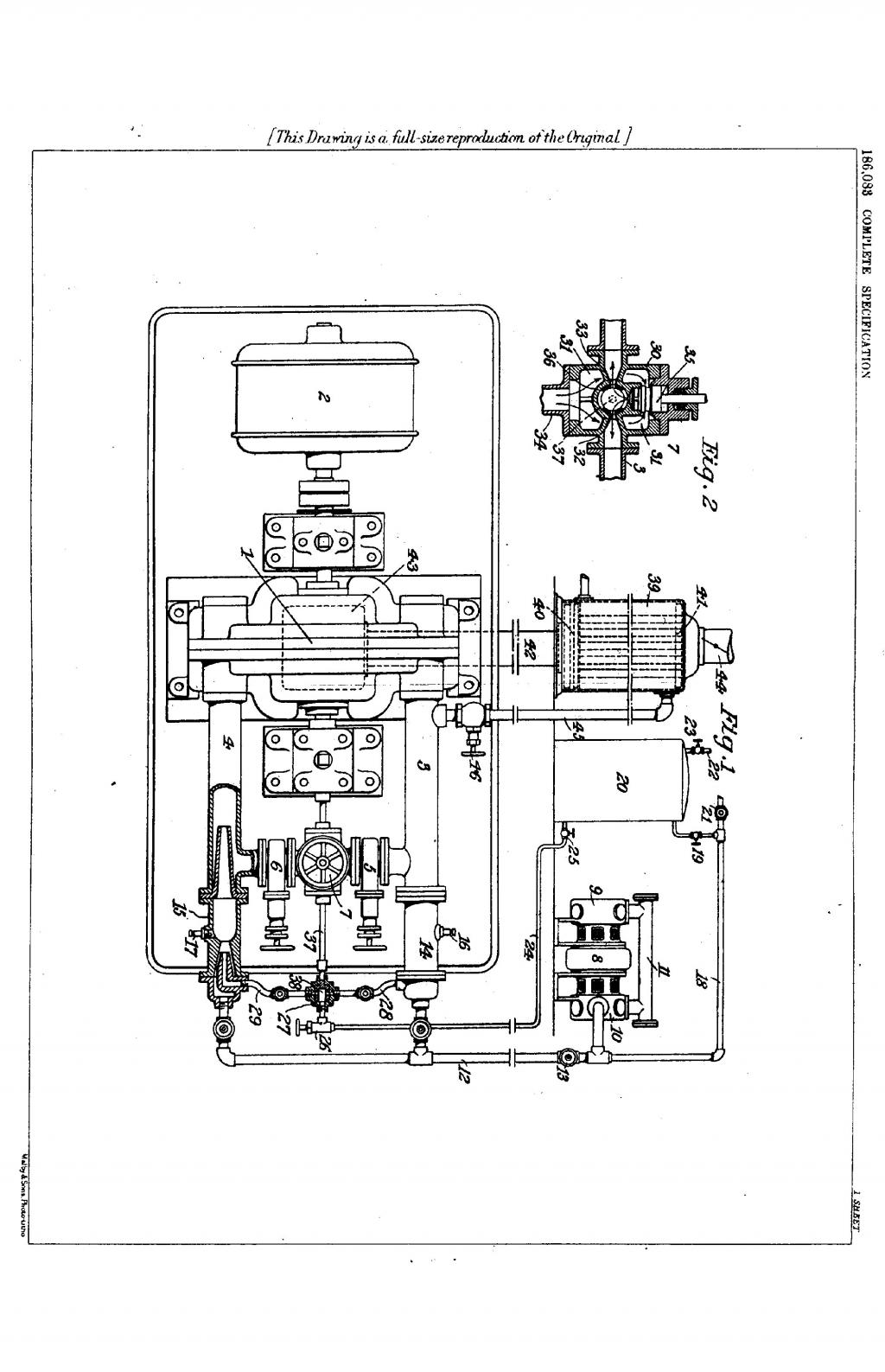 Nikola Tesla British Patent 186,083 - Improved Method of and Apparatus for the Economic Transformation of the Energy of Steam by Turbines - Image 1