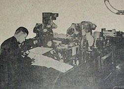 Operating room of the Sayville wireless station, where United States Navy telegraphers have taken charge
