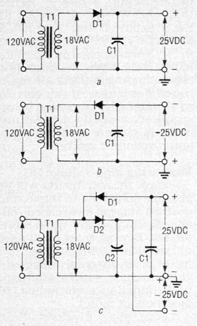 Circuit showing two half-wave rectifiers combined to become a full-wave doubler.