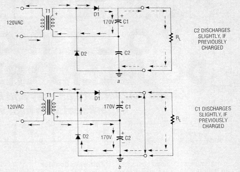 Circuit for full-wave voltage doubler.