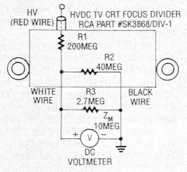 Voltage divider circuit for measuring high-voltages.