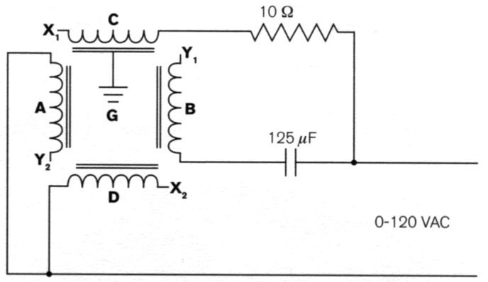 Circuit for two-phase operation of rotating magnetic field project.