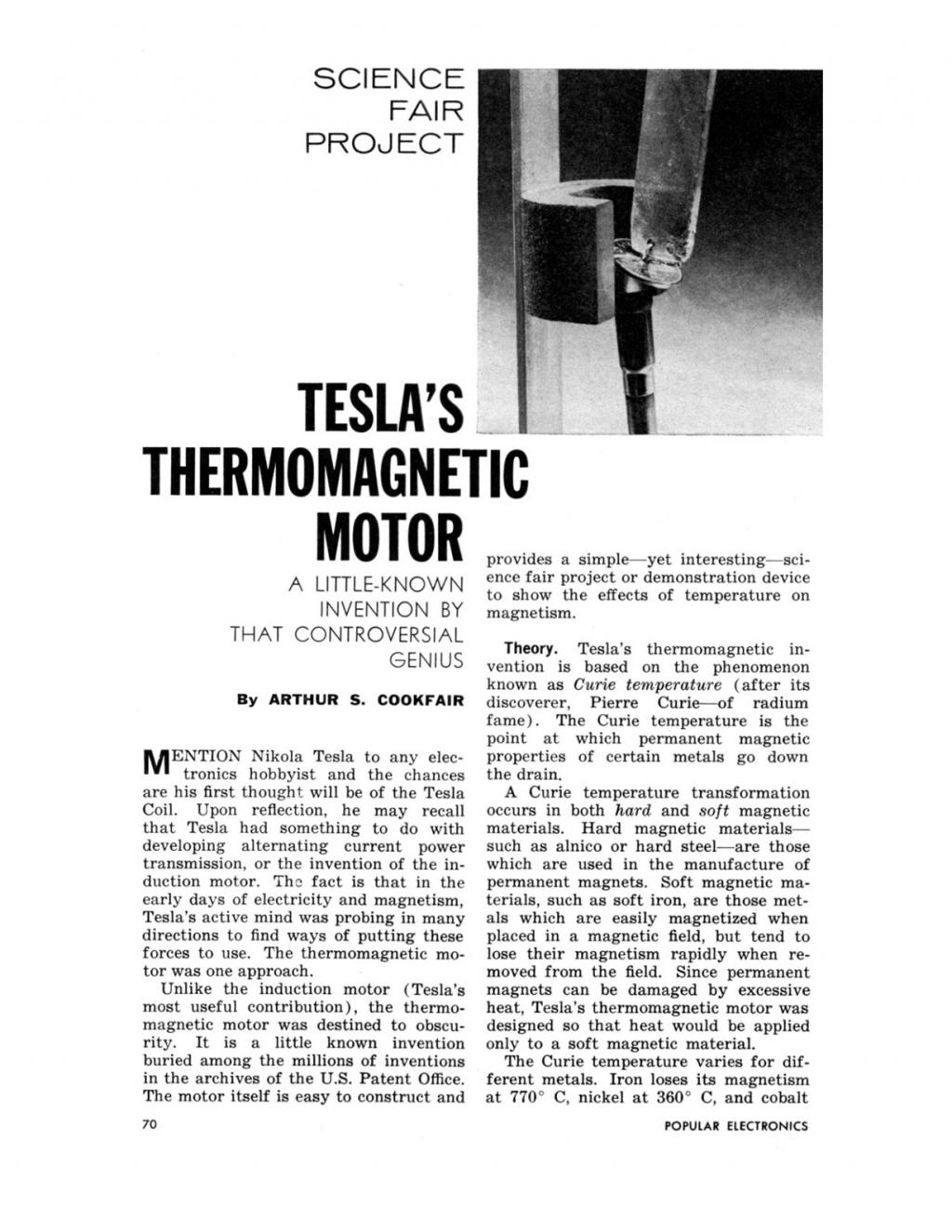 Preview of Tesla's Thermomagnetic Motor plan