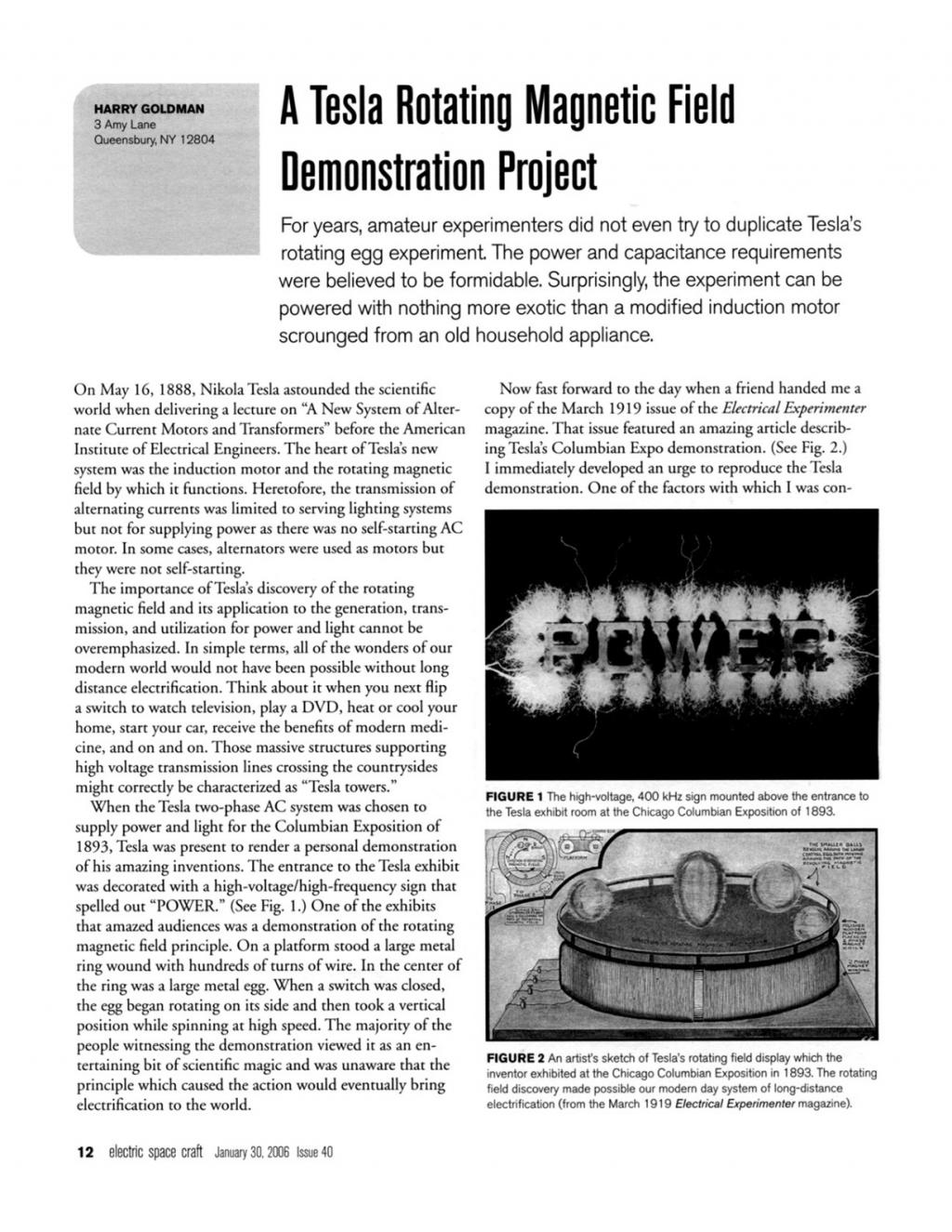 Preview of A Tesla Rotating Magnetic Field Demonstration Project plan