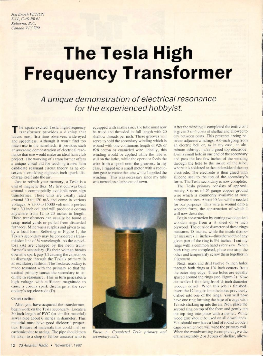 Preview of The Tesla High Frequency Transformer plan