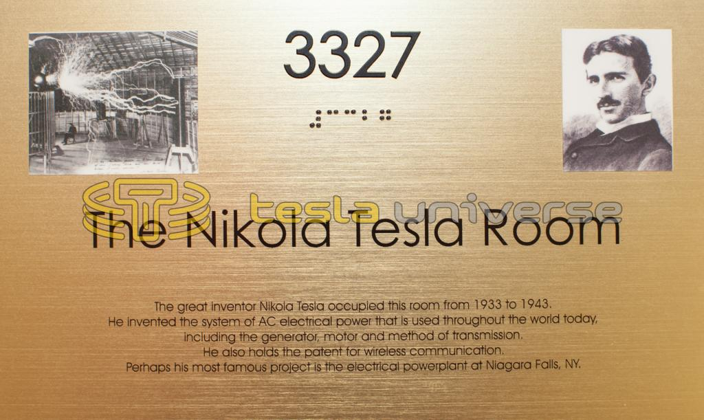 The commemorative plaque on the door to Tesla's room at the New Yorker Hotel