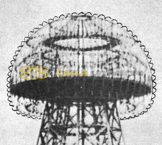 Wardenclyffe tower dome showing cups as Tesla envisioned
