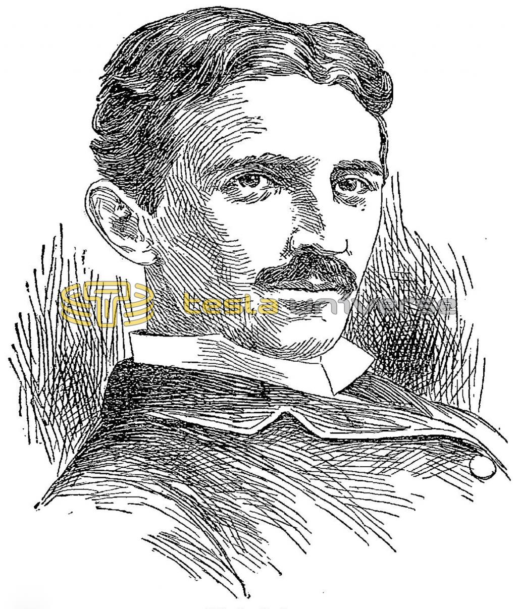 Sketch of Nikola Tesla from the time his lab burned