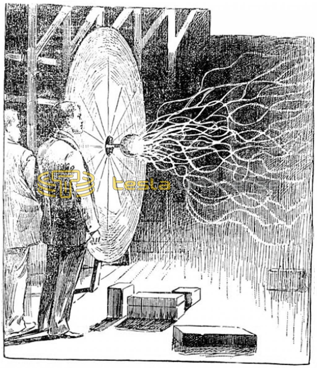 Illustration of experiments in Tesla's laboratory with pancake Tesla coil.