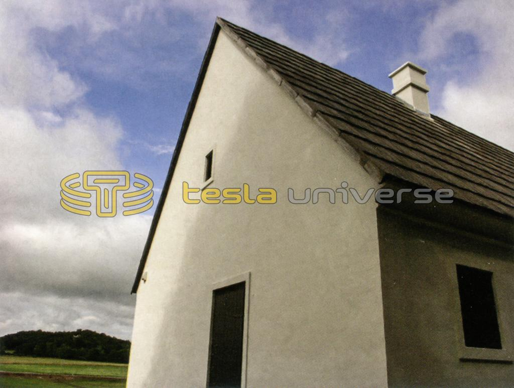Photo of the replica home at Tesla's birthplace memorial in Smiljan, Croatia