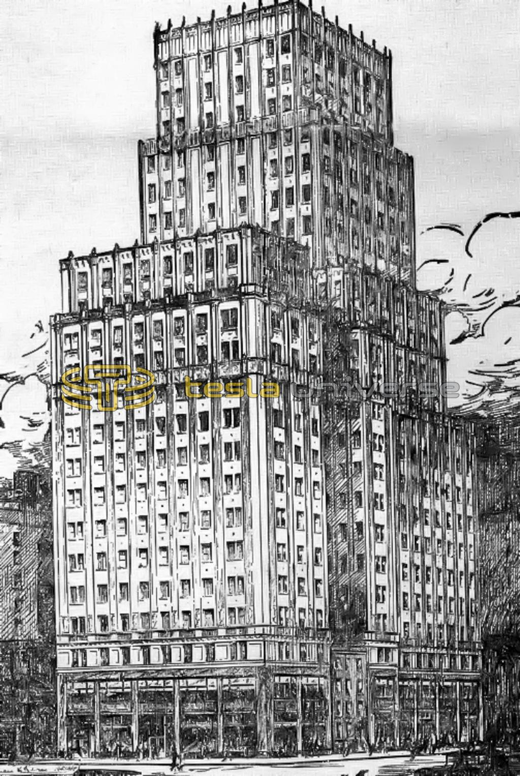 A rendering of the building at 350 Madison Ave. (Borden Building) where Tesla once had an office