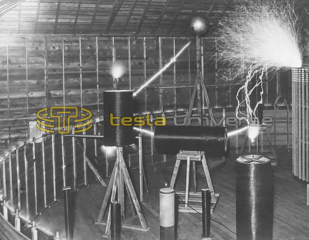 Multiple small coils excited by Tesla's massive Colorado Springs oscillator