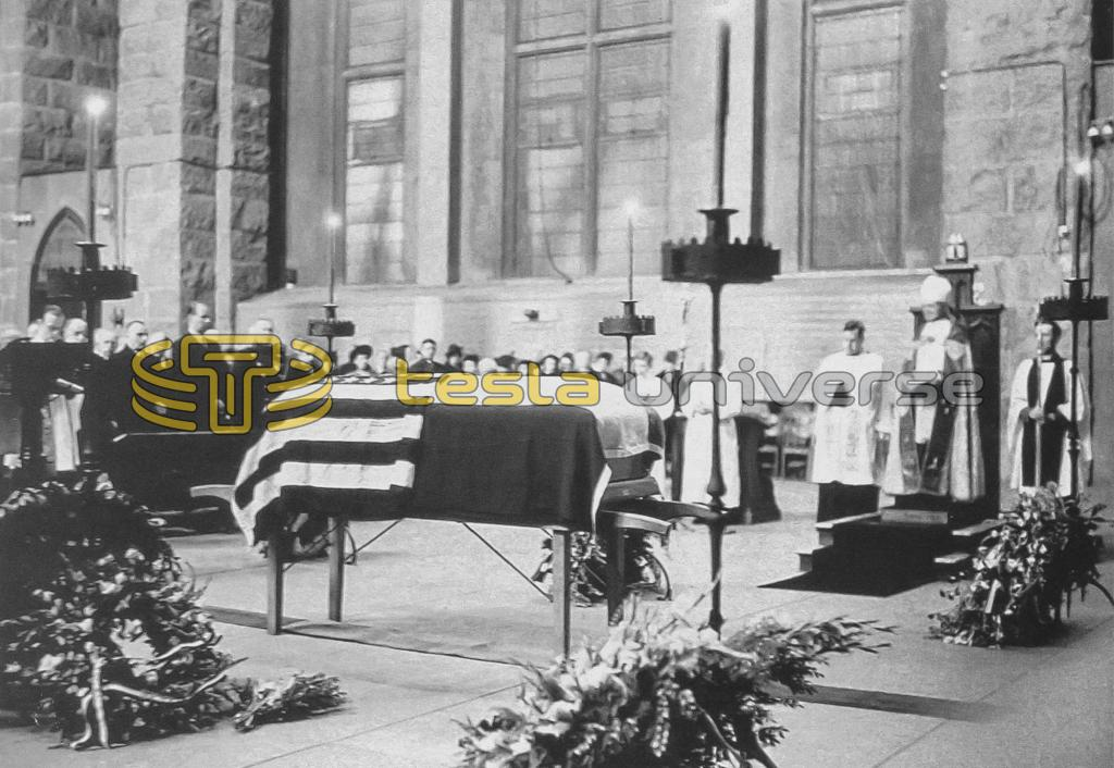 Tesla's funeral service at the Cathedral of St. John the Divine