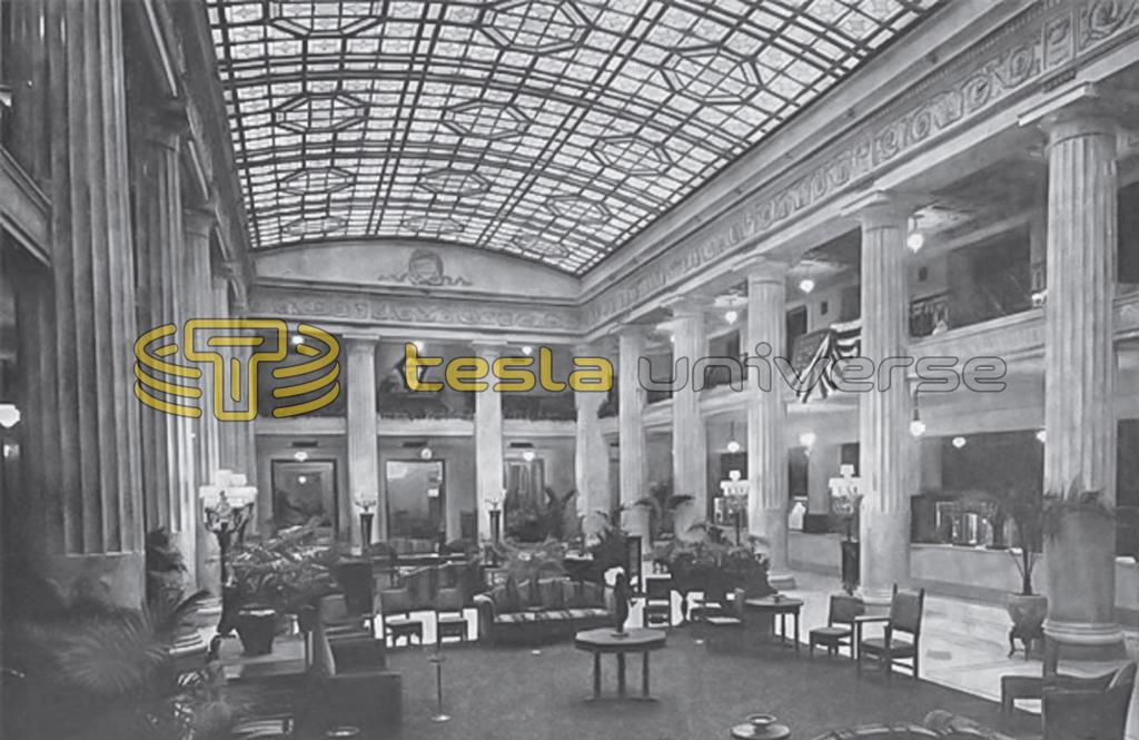 The extravagant lobby of the Hotel Pennsylvania in New York City where Tesla once stayed