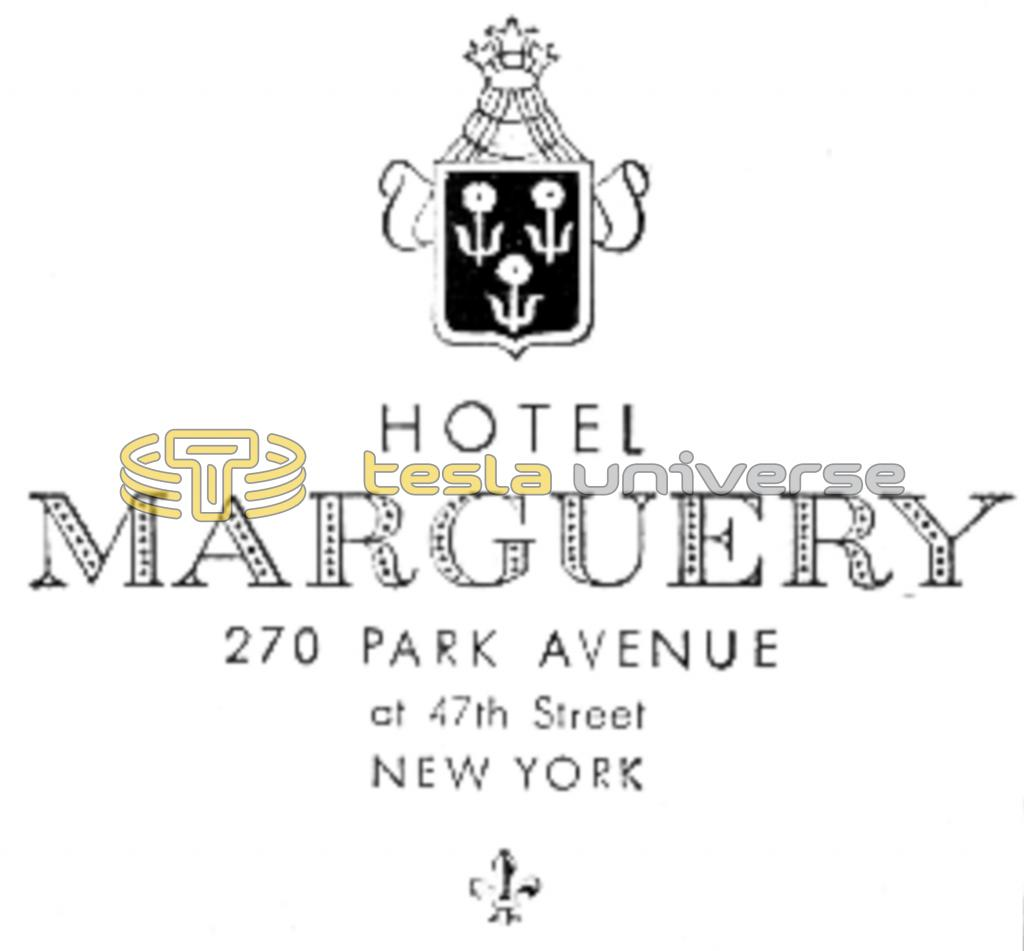 Hotel Marguery letterhead from the time when Tesla lived there