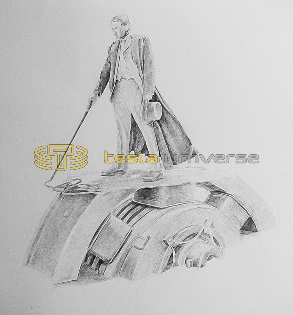 The sketch that won the contest for the Queen Victoria Park Tesla statue
