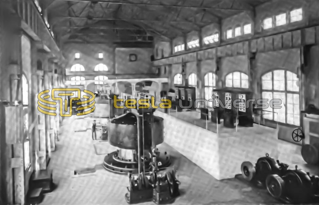 Interior view of the Niagara Falls power house showing Tesla's generators