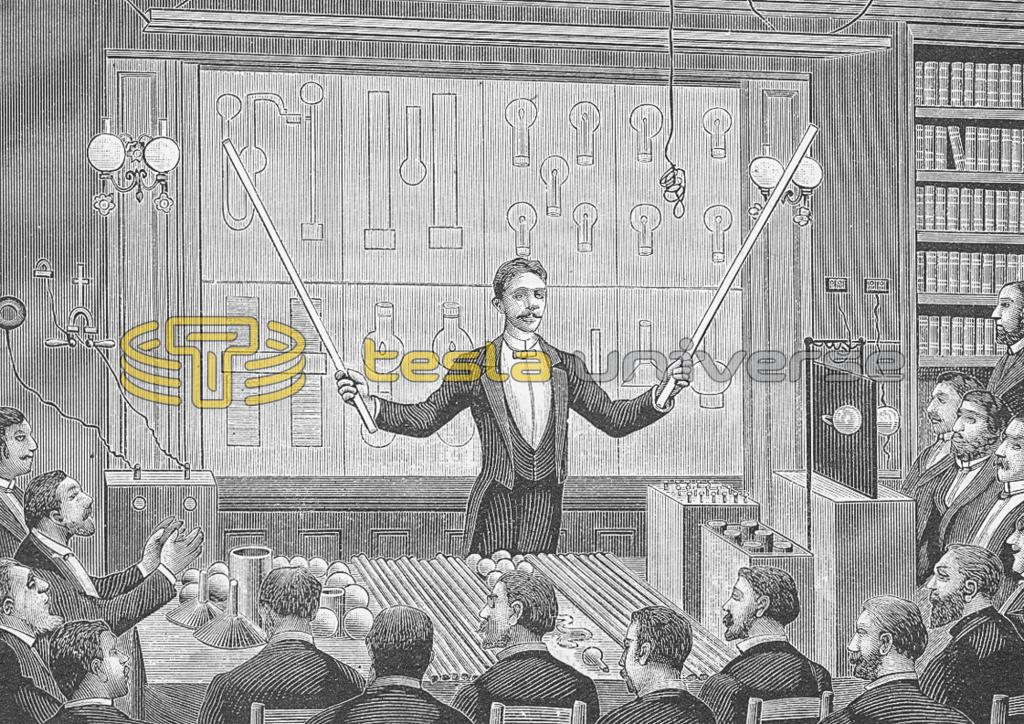 Illustration of Nikola Tesla lecturing in Paris
